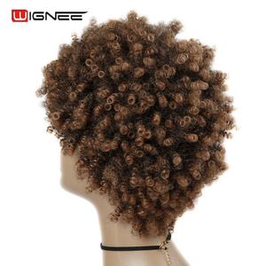 Image 5 - Wignee Short Hair Afro Kinky Curly Heat Resistant Synthetic Wigs for Women Mixed Brown Cosplay African Hairstyles Daily Hair Wig