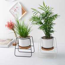 Planter Pots Indoor Modern Plants and Planters Garden Ceramic Round Bowl Large with Stand/Bamboo Tray Home Decor