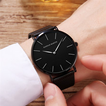 Relogio Masculino Waterproof Japan Quartz Movement Men Watch Luxury Stainless Steel Belt Fashion Male Black Quartz Watch for Men hannah martin nato nylon canvas watchband black face japan quartz movement waterproof men watch wrist watch sarah watch fukavei