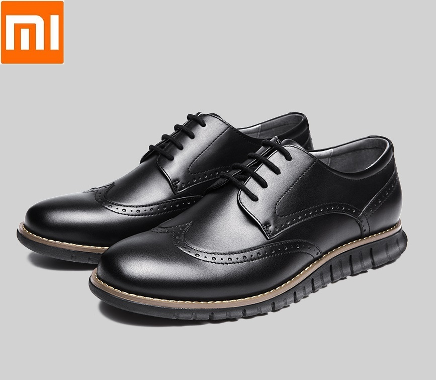 Xiaomi qimian homme femme léger sport derby chaussures léger haute élastique en caoutchouc semelle en cuir chaussures pour homme femme
