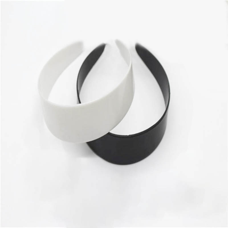 5pcs 3.8/4.8cm White Black Plastic Wide Headbands Flat Bezel For DIY Jewelry Making Accessories Hairbands Base Setting