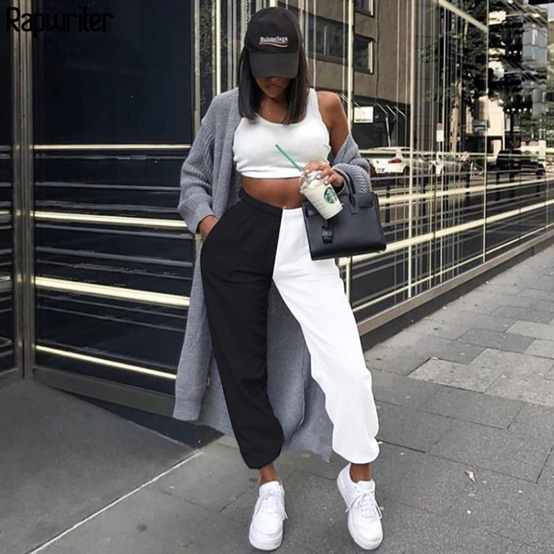 Rapwriter Streetwear Panelled Patchwork Sweatpants Casual High Waist Joggers Trousers Women's Pants Baggy Pants Bottom Pocket