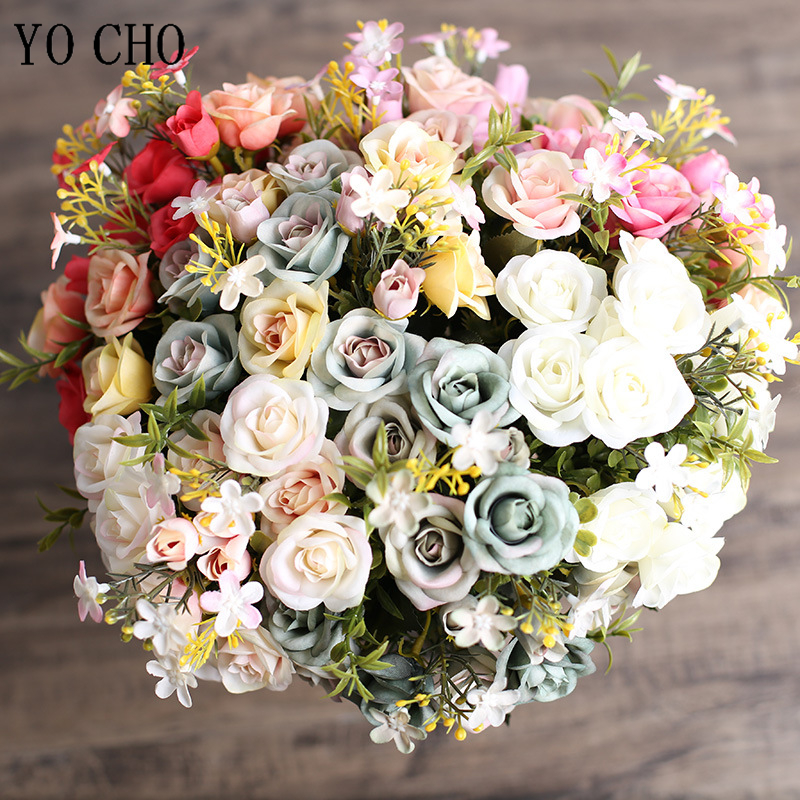 5 Branches Small Roses Pink Silk Artificial Flowers Roses Bridal Bouquet Flores For Wedding Home Party Table Decor Fake Flowers