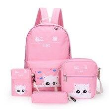 Милый рюкзак с кошкой, новинка года, стильный комплект из четырех предметов с героями мультфильмов, японские корейские парусиновые Рюкзаки большой емкости для студентов