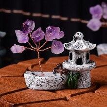 1PC naturalny ametyst drzewo kryształ kwarcowy mineralne ozdoby drzewo życia dekoracji wnętrz drzewo na szczęście uzdrowienie pawilon udekoruj