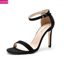 2018 summer new style European and American Packs and heels belt with thin sandals and black heels women Sandals stylish women s sandals with flowers and black colour design