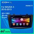 Автомобильный мультимедийный плеер COHO для Mazda 3 2010-2013, стерео радио, Gps-навигация, Android 10,0, 6 + 128G, 8-ядерный