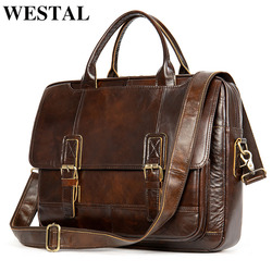 WESTAL men's briefcase  bag men's genuine leather laptop bag men vintage designer luxury brand porte document office bag for men