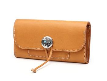 Genuine leather cow skin  long purse vintage handmade wallet for women