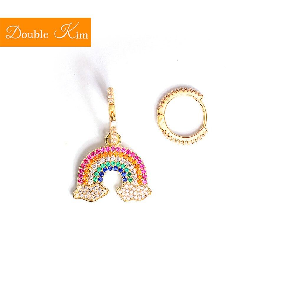 Rainbow Asymmetric Stud Earrings Titanium Stainless Steel Inlaid Zircon Earrings Gold Color Fashion Trendy Women Jewelry Gift