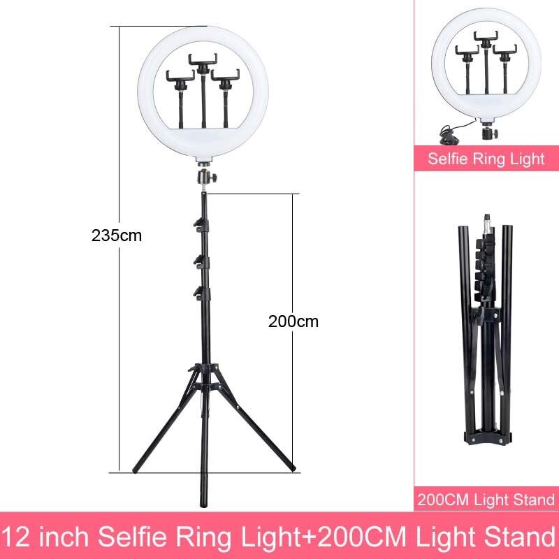 Anillo de luz LED regulable para Selfie, 6, 8, 10 y 12 pulgadas, con soporte, lámpara de 160cm, para fotografía, teléfono, estudio o escritorio