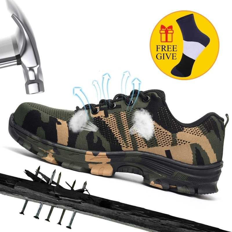 XZMDH Dropshipping גברים ונשים פלדת הבוהן בטיחות מגפי חיצוני לנשימה נעלי בטיחות עבור גברים לנקב הוכחה עובדים סניקרס