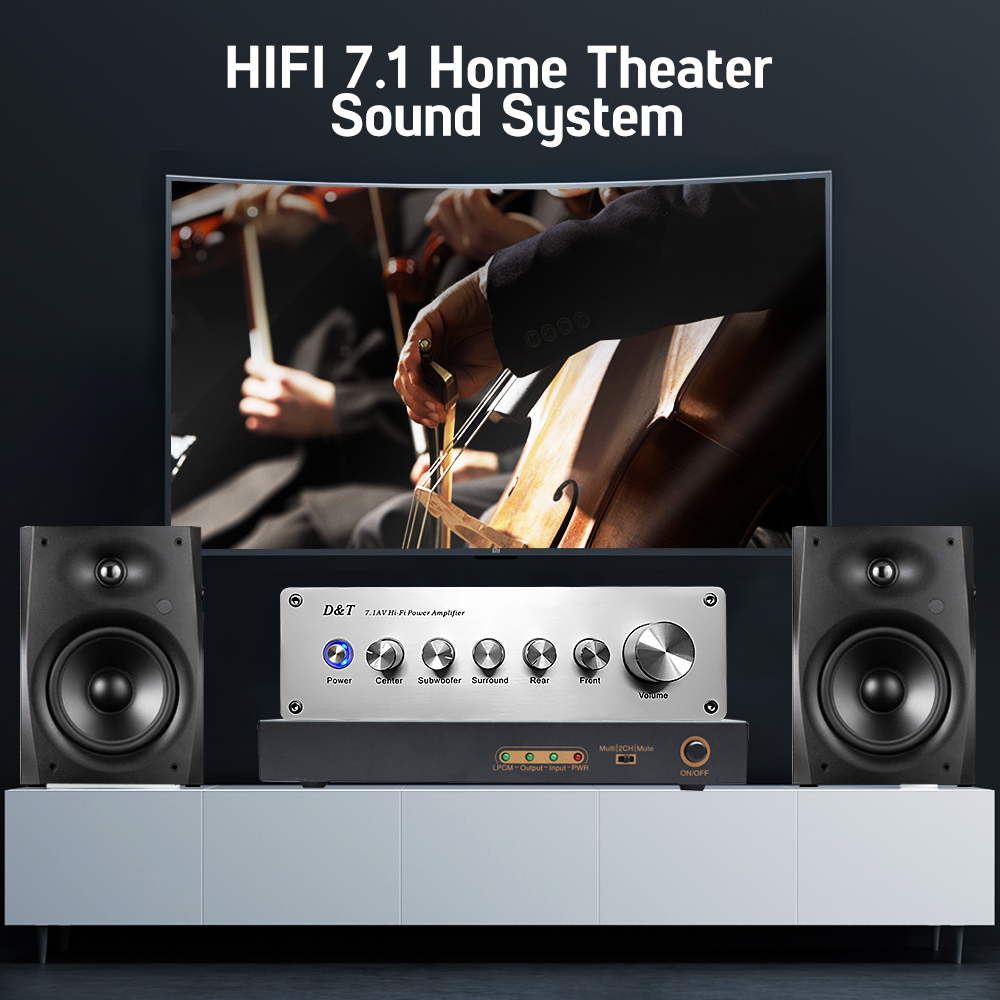 AIYIMA 7.1 Home Theater Power AV Amplifier 8x20W 8 Channel Audio Sound Amplifier Active Subwoofer Speaker Amplificador - 6