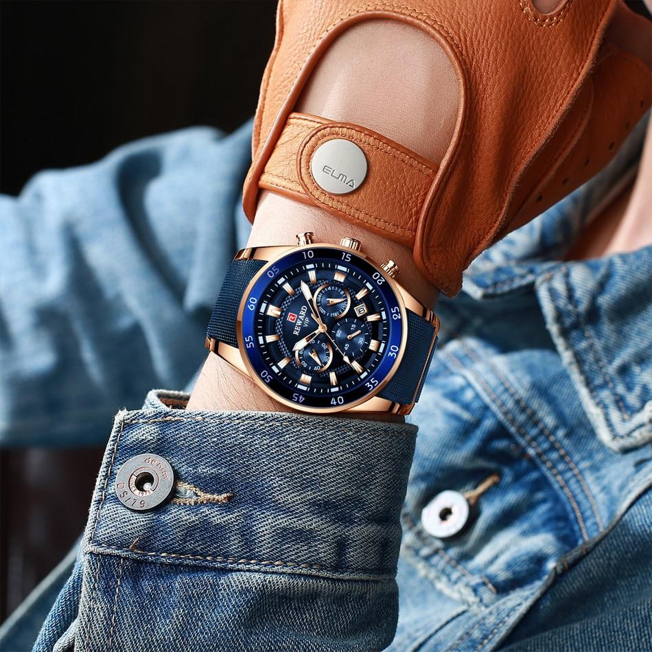 quartzo azul relógio de aço completo cronógrafo