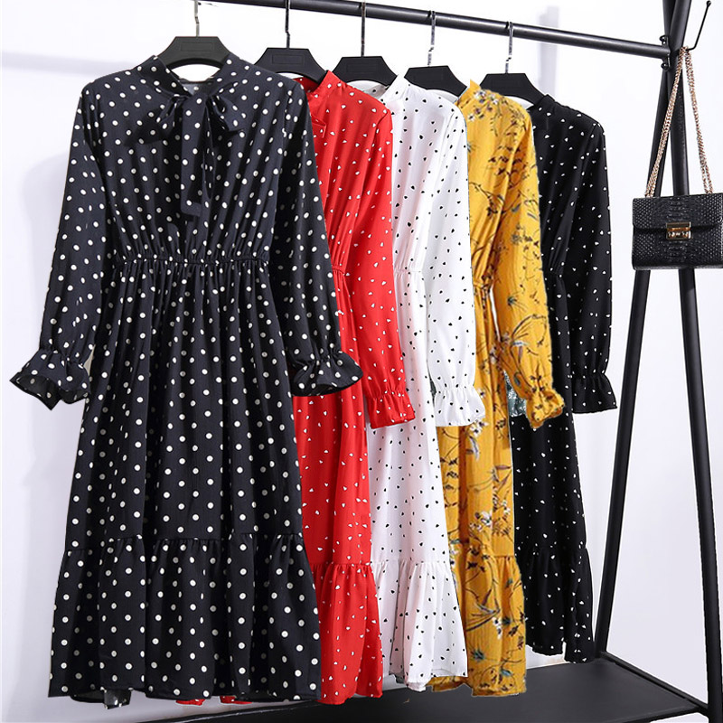 Autumn Chiffon Shirt Dresses Long Sleeve Polka Dot Plaid Office Vintage Dress 2019 Women Summer Casual Midi Floral Dress Vestido