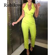 Rubilove Belted halter jumpsuit for women 2019 Sleeveless high waist pants long jumpsuits Sexy v neck rompers bodysuit womens ov
