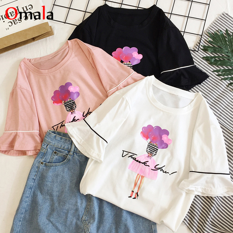 2020 Summer T Shirt For Women Top Korean Kawaii Print T-shirts Femme Short Sleeve Harajuku White Black Pink Tees Camisetas Mujer