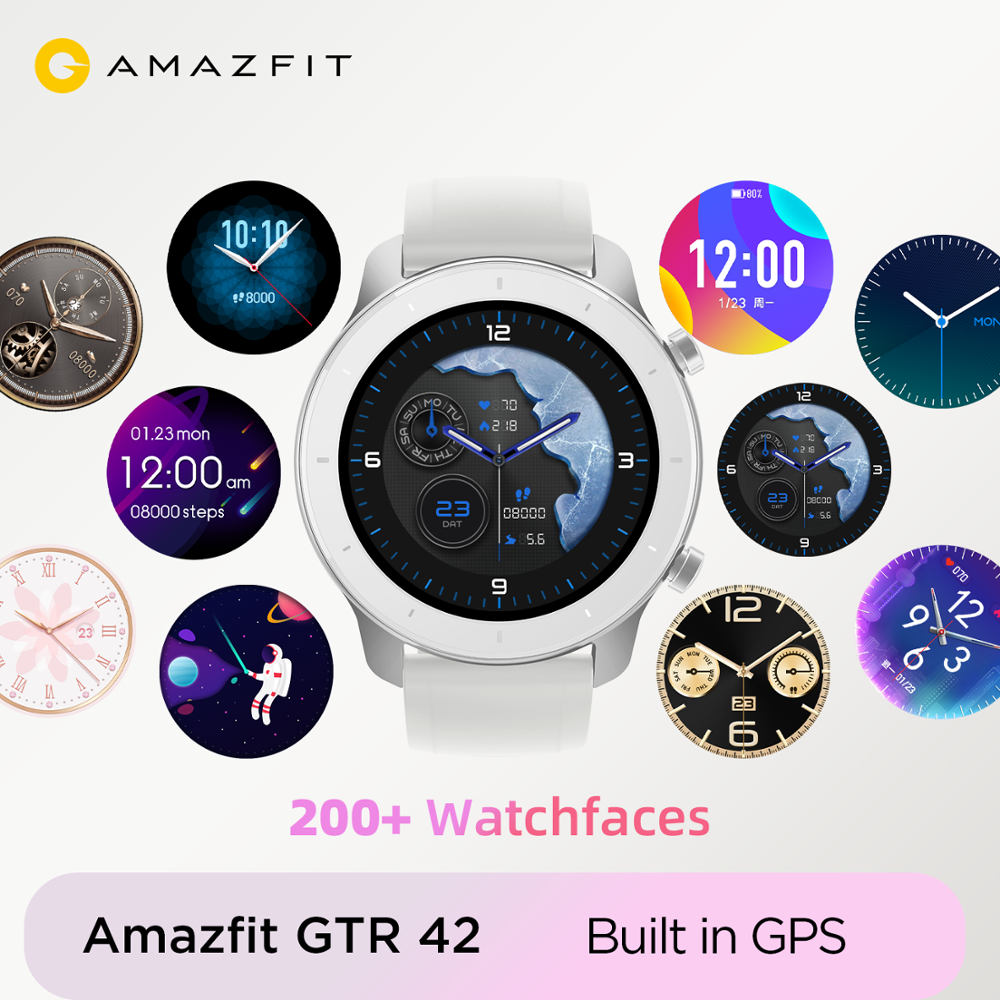 Amazfit Music-Control GPS Smart-Watch 12-Days-Battery 42mm Global-Version Android