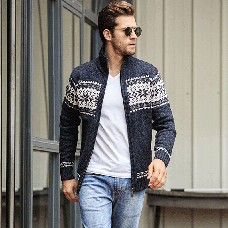 Stylish Men's Jacquard Sweater Coat British Style Tide Knitted Cardigan Turtleneck Full Zip Casual Wild Warm Winter Wool Sweater