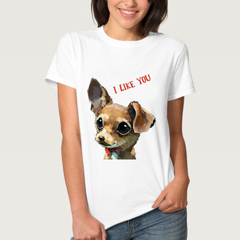 2019 Summer White Animal Print Women's T Shirts Lovely Puppy Dog Print Women T-shirts T Shirt Lady T Shirt