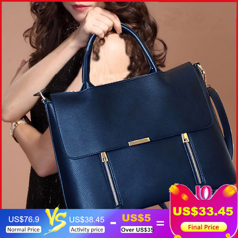 """Women's Leather Briefcase Business Office Bags for Women Work Bag 13.3"""" Laptop Bag Bolso Trabajo Mujer Cartable Cuir Femme"""
