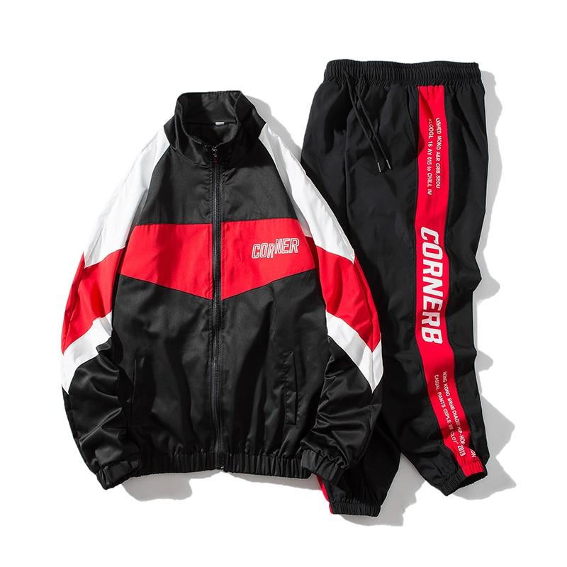 2019 Men's Hip Hop Tracksuit Mens Clothing 2 Pieces Sets Man Streetwear Jacets And Harem Pants