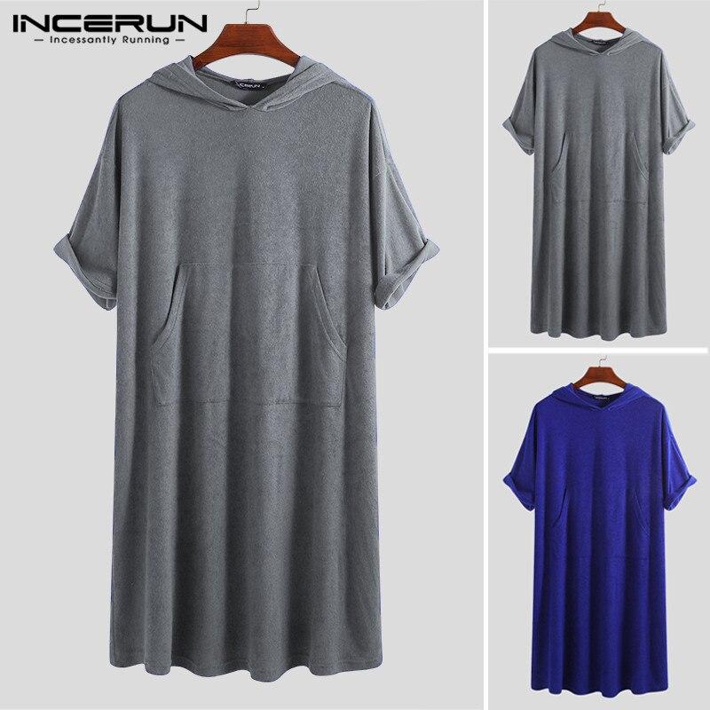 Men Bathrobes Solid Half Sleeve Quick-dry Hooded Pockets Beach Robes Fashion Men Towel Bathrobe Homewear INCERUN 2019 Plus Size