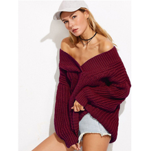 Sexy women A word winter sweater casual solid long sleeve pullovers female jumper loose thick sweaters