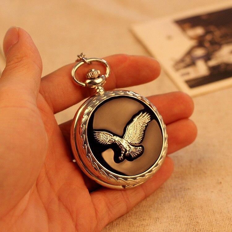 Moda de Luxo Relógio de Bolso dos Homens do Vintage Relógio de Bolso Inoxidável Águia Moda Colar Pingente Relógio Masculino 2020 Aço Mod. 157757