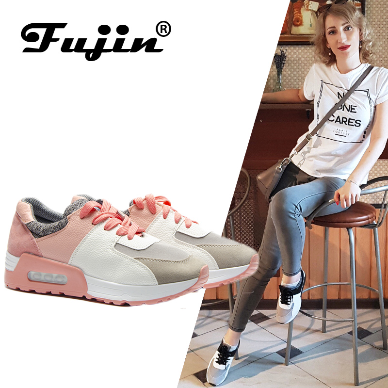 Fujin Shoes Flats Sneakers Feminino Handmade Fashion Women Brand Tenis Lace-Up New Casual