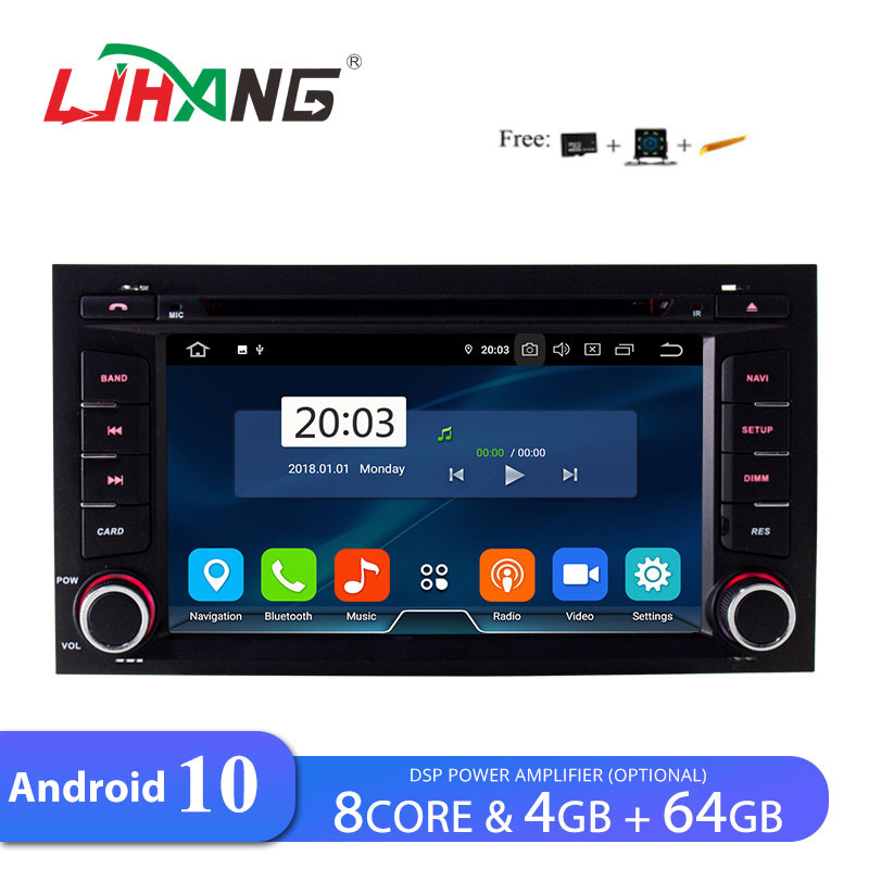 LJHANG Car DVD Multimedia Player Android <font><b>10</b></font> For SEAT LEON 2014 2015 2016 2017 WiFi GPS Navigation 1 din Car radio Stereo RDS DSP image