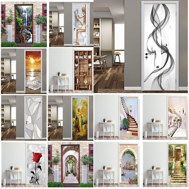 3D Stereo Butterfly Door Stickers For Living Room Bedroom Renew Decal Self-adhesive Removable Wine Cabinet Home Decor Wallpaper