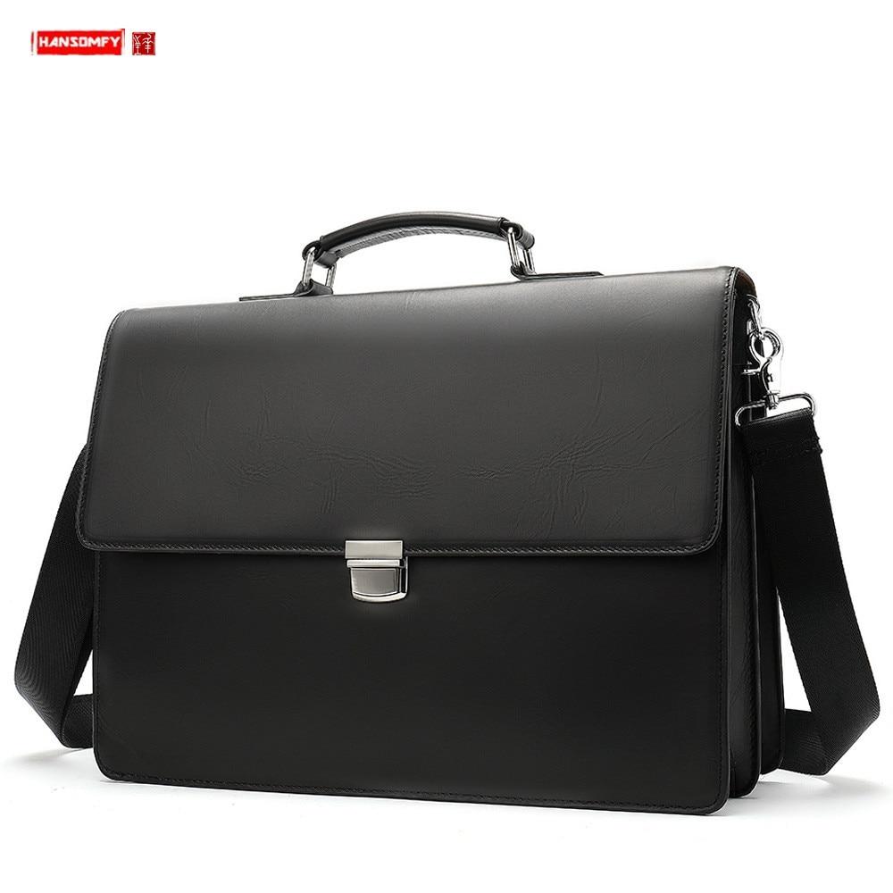 New Genuine Leather Business Men Briefcase Men's Buckle Handbag 14 Inch Laptop Shoulder Bag Solid Black Leather Travel Tote Bags