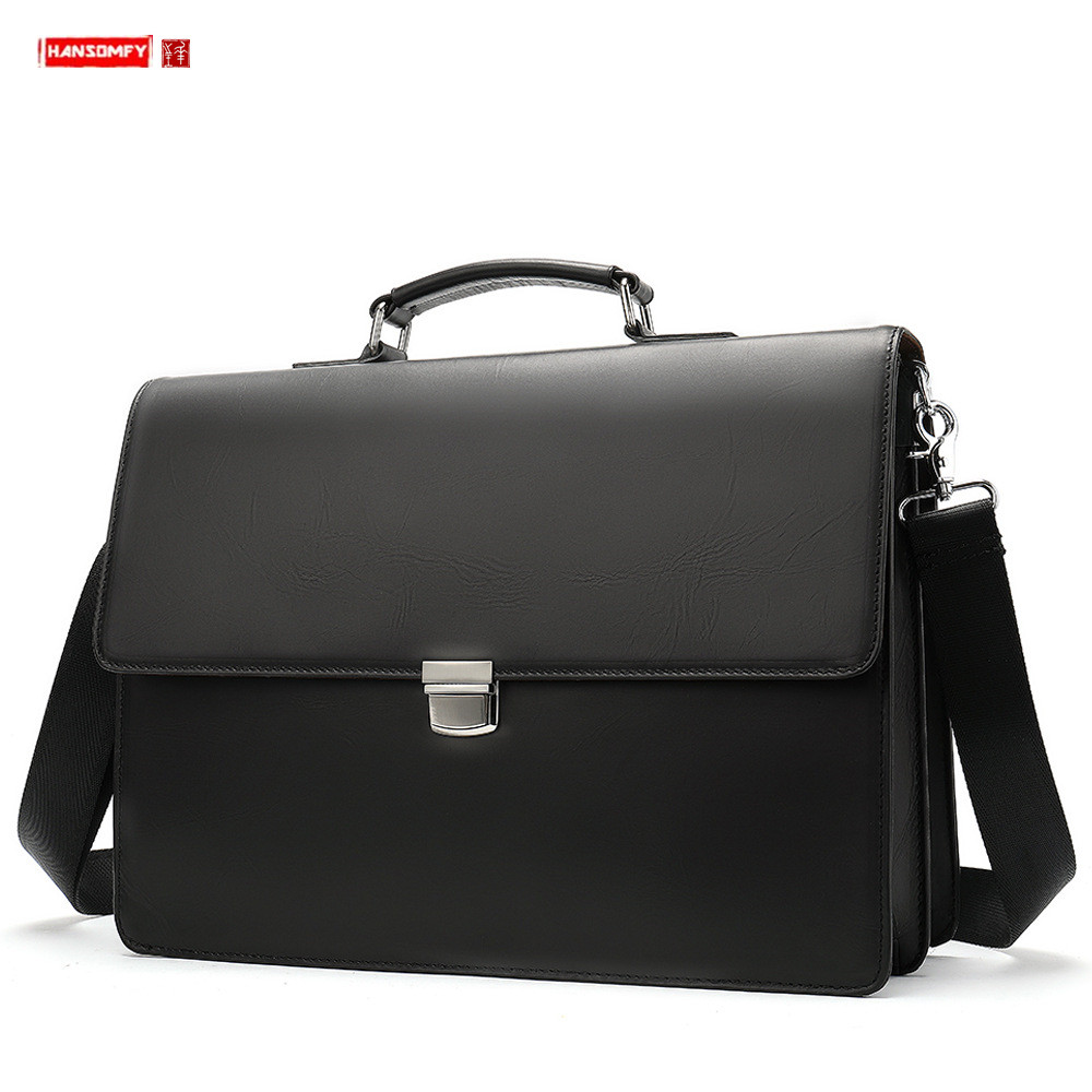 New Genuine Leather Business Men Briefcase Men's Buckle Handbag 14 Inch Laptop Shoulder Bag Solid Black Leather Travel Tote Bags