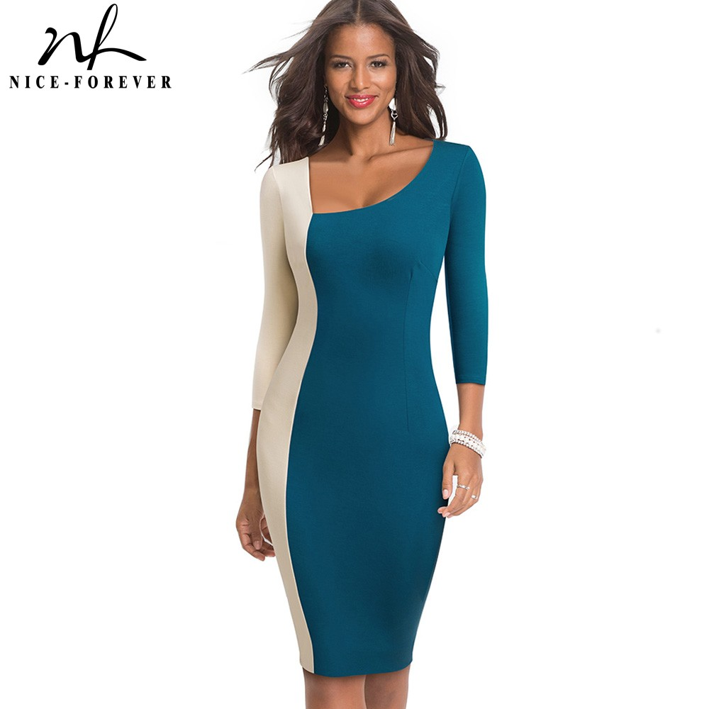 Nice-forever Elegant Contrast Color Patchwork Office Vestidos Business Party Bodycon Sheath Women Dress B546