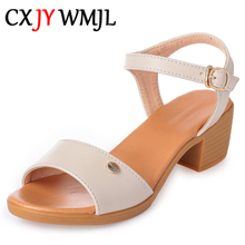 2020 New Ladies Leather Large Size High Heel Sandals Summer Open Toe Thick Sandal Sexy Heels Shoes Office Women Comfort Sandals genuine leather crystal open the toe thick high heels women sandals 2016 new fashion sexy peep toe lady summer sandal shoes