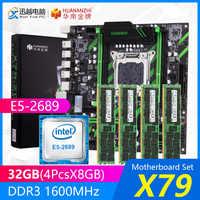 HUANAN ZHI X79 carte mère ensemble X79-ZD3 REV2.0 M.2 MATX avec Intel Xeon E5-2689 2.6GHz CPU 4*8GB (32GB) DDR3 1600MHz ECC/REG RAM