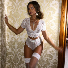 Women Lace Sexy Lingerie Exotic Sets Nightwear Babydoll Crop Tops G-string Under