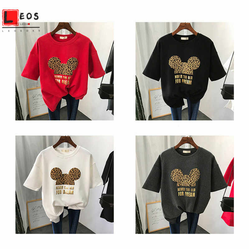 Ins Hot Short Sleeve for Woman T Shirt Fashion Leopard Print Letters Loose  Summer Print Cartoon T Shirts Aesthetic Harajuku| | - AliExpress