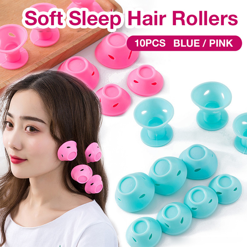 10Pcs/set Soft Rubber Magic Hair Care Rollers Silicone Hair Curler No Heat Hair Styling Tool For Women Hair Curlers