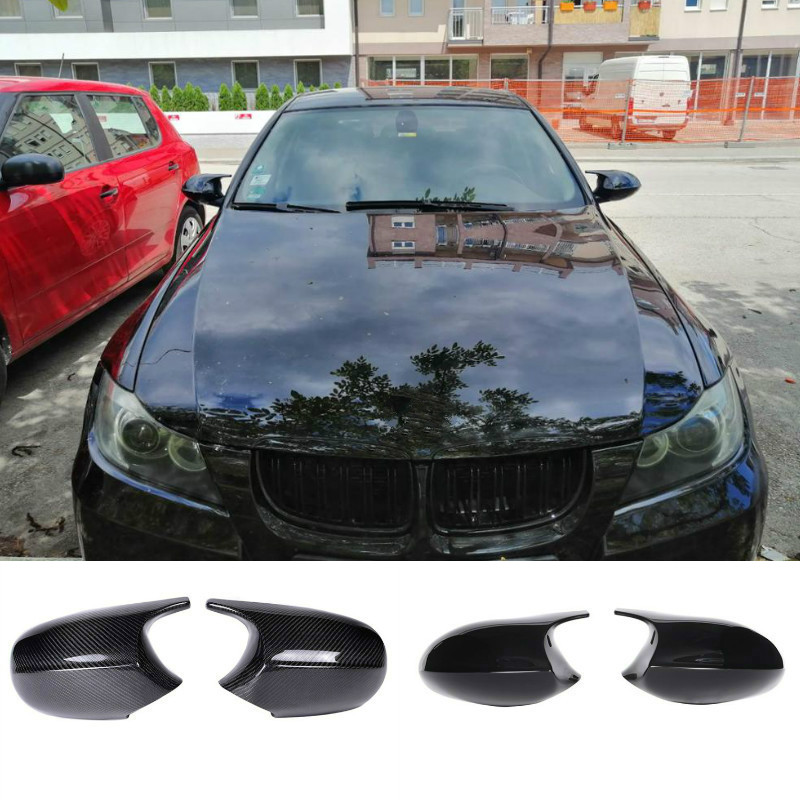 M3 Style 2x Mirror Cover E90 Car Rearview Mirror Cover Cap For BMW E90 E91 PRE-LCI 2005-2007 E92 E93 2006-2009 E80 E81 E87 image
