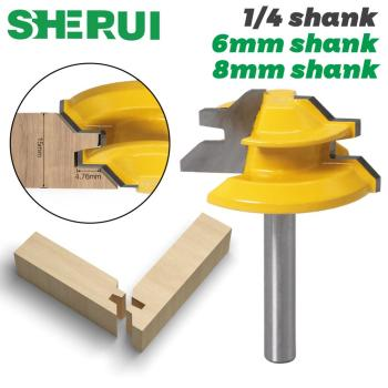 "1Pc 45 Degree Lock Miter Router Bit 6mm 1/4"" Shank Woodworking Tenon Milling Cutter Tool Drilling Milling For Wood Carbide Alloy"