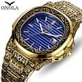 Top Marke ONOLA Männer Analog Quarz Uhr Herren Mode Luxus Gold Uhren Edelstahl Wasserdichte Armbanduhr Relogio Masculino