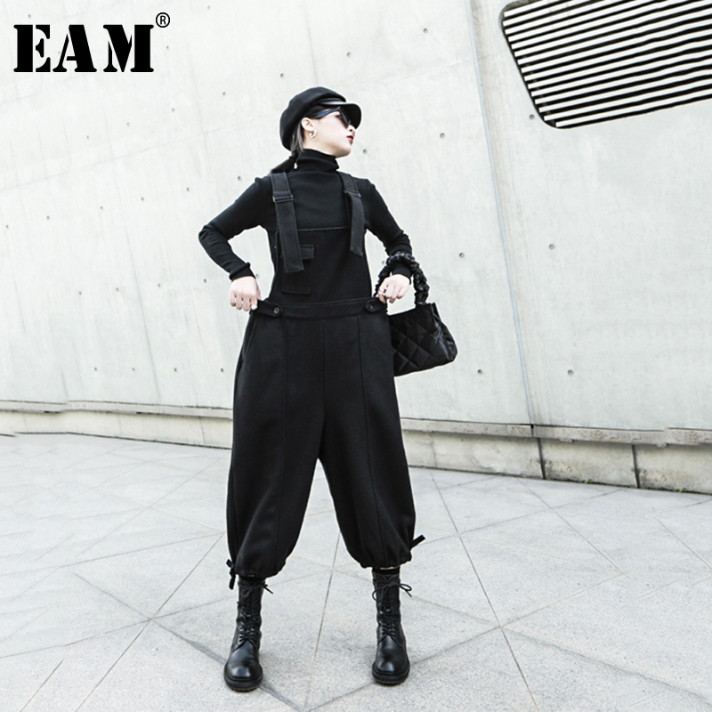 [EAM] High Waist Black Long Thick Woolen Overalls Trousers New Loose Fit Pants Women Fashion Tide Spring Autumn 2020 1N325