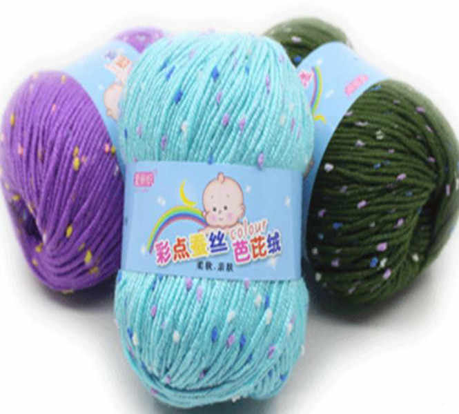 Baby Knit Wool Yarn Colored Silk Bobbi Cashmere Milk Cotton Middle Hand Braided Thread 35 Colors Soft Warm and Durable Colorful