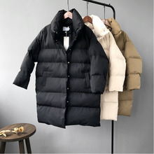 RICORIT Winter Hooded Cotton-Padded Jacket Women New Long Sleeve Solid Color Warm Loose Long Puffer