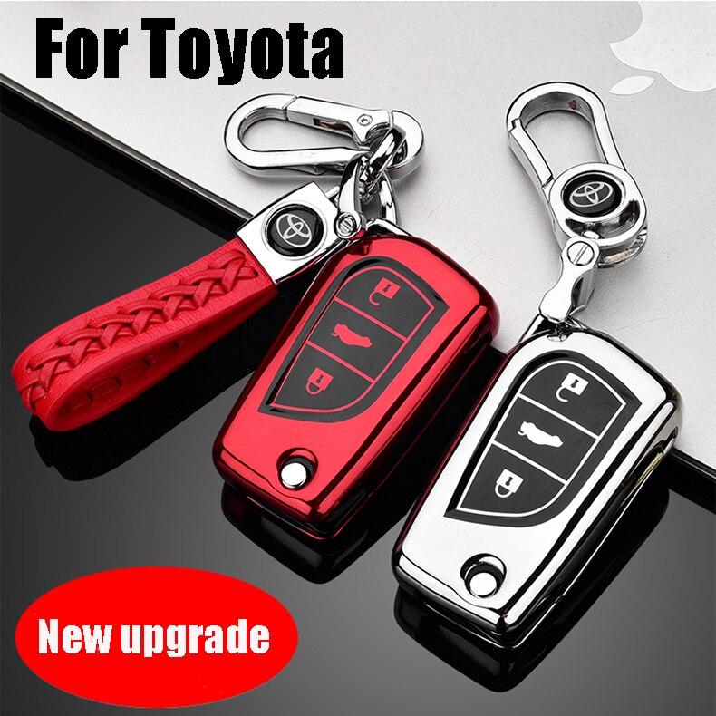 ZOBIG Car Flip Key Case Cover  For Toyota Yaris Reiz Carola Rav4 Highlander Folding Keys keychain Styling S TPU shell