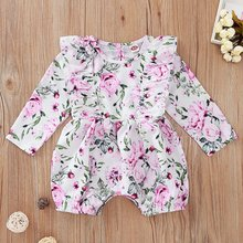 Cotton Newborn Girls Romper Clothes Long Sleeve Summer Floral Baby Romper For Girl Cute Ruffle Pink Girl Body Jumpsuit 2020(China)