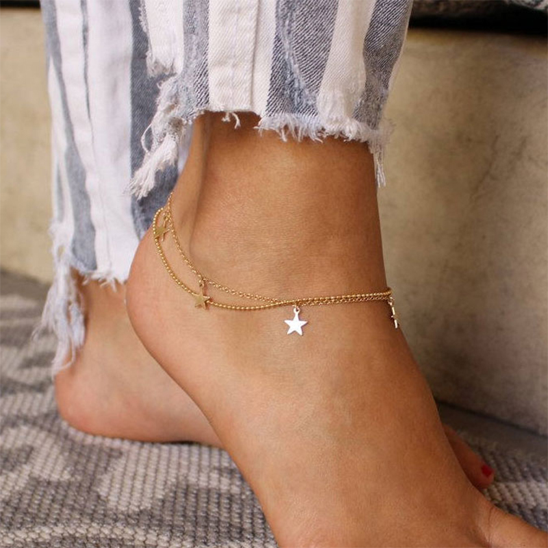 KISSWIFE Fashion Multilayer Bead Chain Star Anklets for Women Bohemia Anklet Beach Foot Bracelet Jewelry
