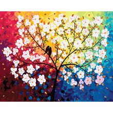 DIY Painting By Numbers White Flower With Little Bird Oil Paint for Adults Kids Picture By numbers On Canvas Home Decor wonzom beach flower oil painting by numbers diy abstract digital picture coloring by numbers on canvas unique gift for home 2017